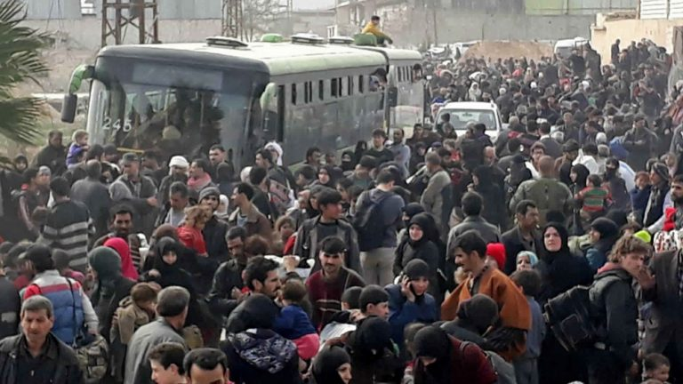Syrian civilians flee embattled Eastern Ghouta and Afrin
