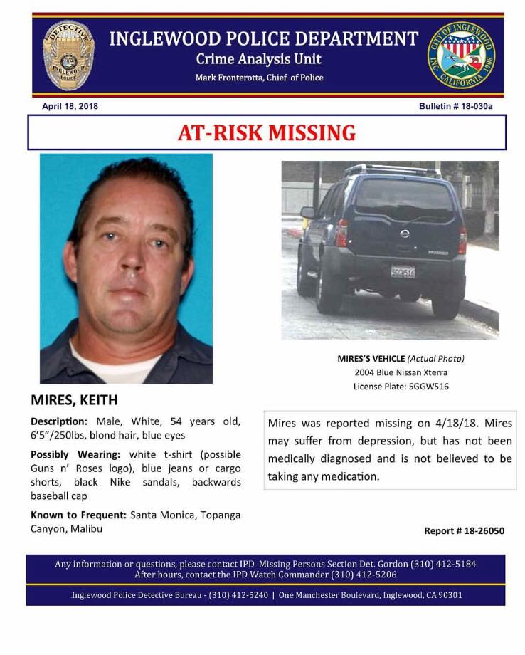 FOUND UPDATE ON MISSING PERSONS: Keith Mires From #Inglewood Found