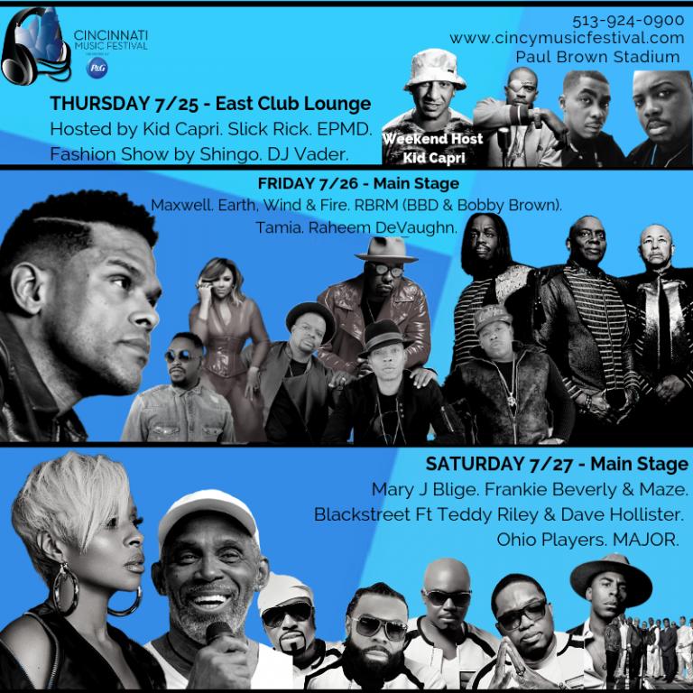 2019 Cincinnati Music Festival Fri, July 26, Sat, July 27, Cincinnati, OH